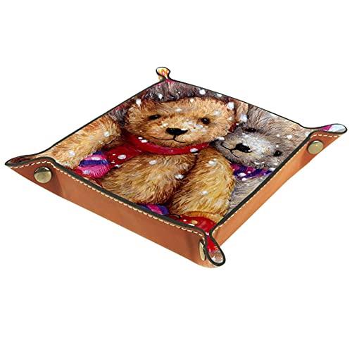 Bandeja de Cuero - Organizador - Muñeca de oso de peluche de nieve de invierno - Práctica Caja de Almacenamiento para Carteras,Relojes,llaves,Monedas,Teléfonos Celulares y Equipos de Oficina