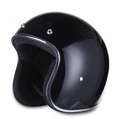 Black High Gloss Pen Face Bike Cruiser Helmets con Anillos D Dual, Crucero Adulto Motocicleta Entusiastas Retro Medio Cara para Las Mujeres Hombres, cáscara de ABS y Densidad Doble EPS Liner