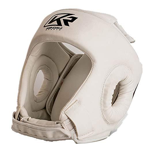 Boxe copricapo Colore bianco di alta qualità boxe mma kickboxing testa gear boxe casco guardia testa sparring Muay thai kick brace testa di protezione per Boxe, MMA, UFC, Muay Thai, Kickboxing, Arti m