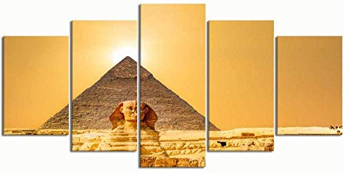 5 piezas de arte Lienzos Pinturas Pinturas Lienzo moderno Cuadro de arte de pared Cuadros 5 piezas, Esfinge Pirámide Desierto egipcio, Decoración de pared Carteles impresos Sala de estar para niñ