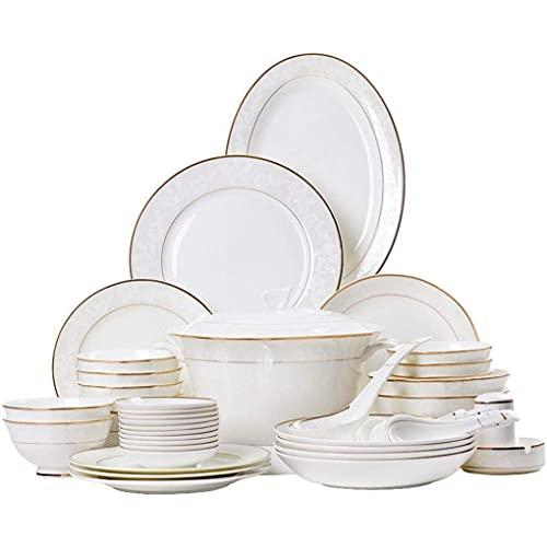 HKX Juego de Cena Resistente, Juego de vajilla de 62 Piezas Juego de Cena con patrón de Borde Dorado Blanco de Porcelana de Porcelana para 10 Personas