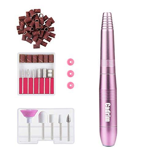 Cadrim Elektrische Nagelfräser Fräser Nagelfeile Maniküre Set plus 6Bits und Schleifhülsen mit geringem Rauschen und Vibration (20000RPM) (Rosa)