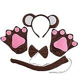 4pcs Monkey Ears Headband Tie Tail Glove Set Kids Animal Party Costume Cosplay Accessories Kids Performance Prop (Coffee, White)