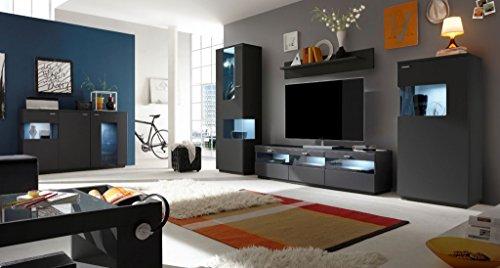 COMO Wohnzimmer Set 3 Wohnwand Anbauwand Wohnkombination Graphit Grafit supermatt