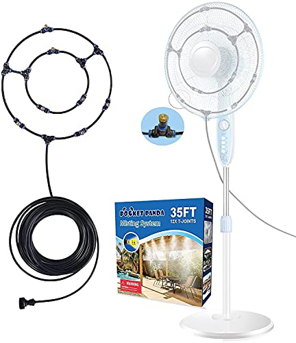 Misting Fans for Outside Patio, 35FT Misting Hose, Mister Fan Outdoor for Cooling, Misting Fan for Outside Patio, Water Fan Mist for Backyard, Patio Fan Misting System, Cool Mist Hose with 12 Nozzles