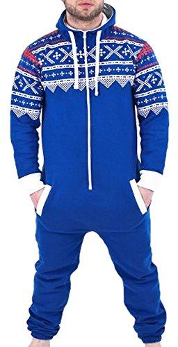 Juicy Trendz® Herren Onesie Overall Trainingsanzug Jogginganzug Einteiler Muster Jumpsuit, Blue-aztec, S