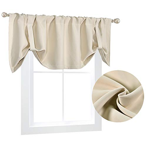 Cream Beige Curtains Valance for Windows 18 Inches Long Top Blackout Window Treatments Adjustable Short Straight Valance for Kitchen Bedroom Kids Room 52X18 inch Length