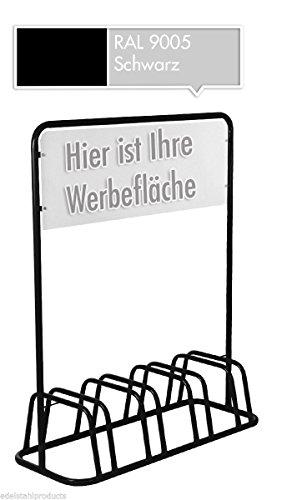 4er Werbe-Fahrradständer mit Werbeschild / Fahrradhalter + Werbetafel (Schwarz)