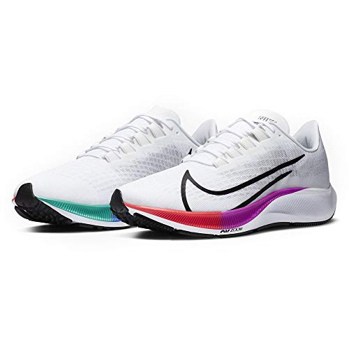 Nike Mens Air Zoom Pegasus 37 Running Shoes, White/Black-Hyper Violet, 10 US