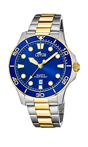Lotus Herren Analog Quarz Uhr mit Edelstahl Armband 18760/1