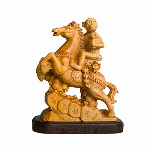 Statue Soprammobile Statuine Statua in Legno Scimmia Equitazione Figurina Artigianato Domestico Occidentale Intaglio del LegnoDecorazioneDell'Ascesadel PianetaScimmie