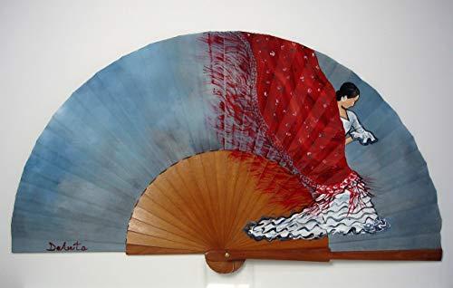 """Abanico español pintado a mano""""El mantón de Manila"""""""