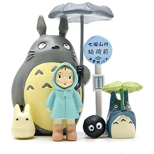 BlueBean Totoro Beeldje Set Miniatuur Tuin Figuren Micro Totoro Bus Station Landschap Ornament Decoraties 6 Stks