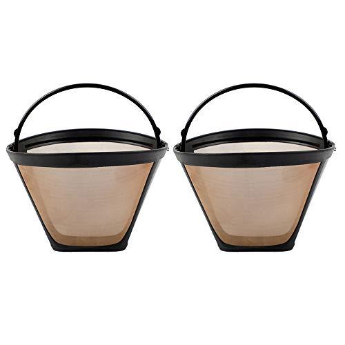 2x Permanent wiederverwendbare Kegelform Kaffeefilter Mesh Basket Gold Tone New One Kit