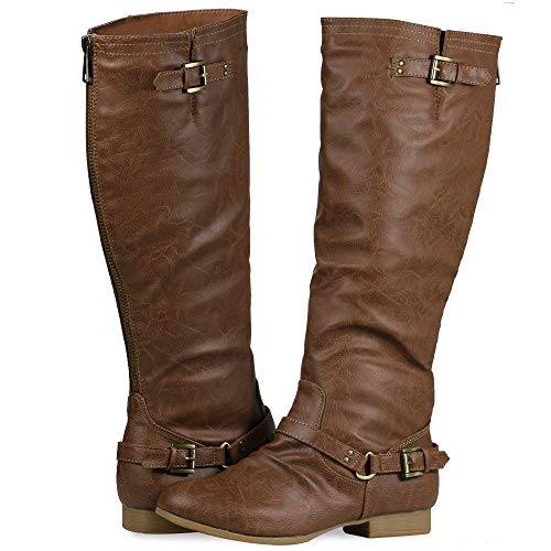 Women's Block Low Heel Knee High Boots Zipper Closure with Buckle Fashion Riding Boots Tan 10