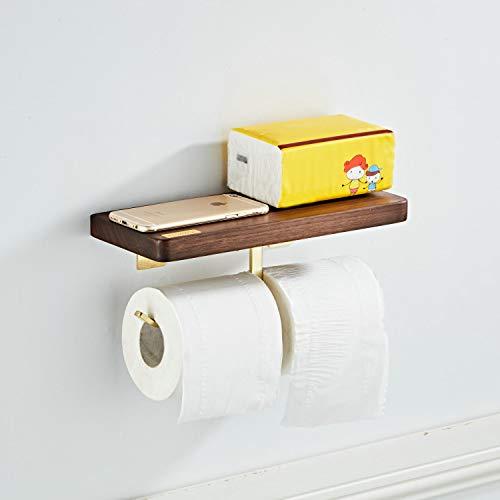Kelelife Toilettenpapierhalter mit Hölzern Ablage, gebürstetes Gold, Doppel Papierhalter Edelstahl für Badezimmer