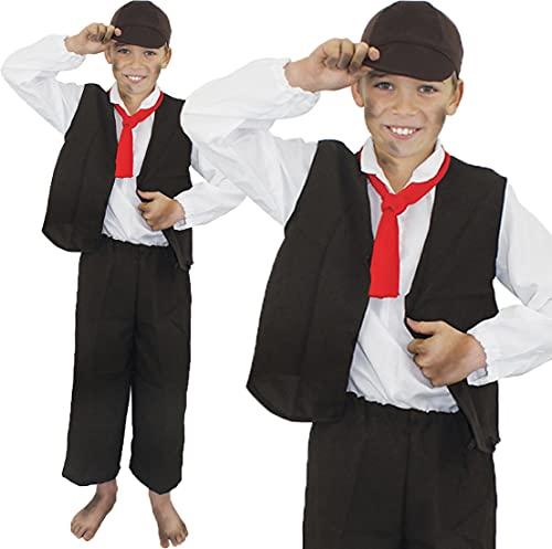 Déguisement de petit cireur de chaussures de l'époque Victorienne avec un haut blanc manches longues + gilet marron + une écharpe rouge + pantalon marron + casquette marron pour enfant. Idéal pour les fêtes de fin d'école. ( 4/6 ans )
