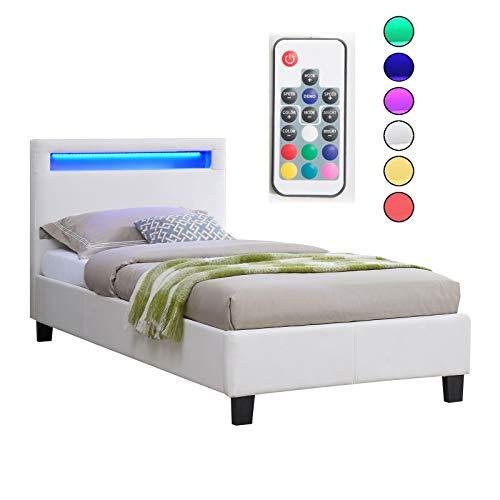 CARO-Möbel Polsterbett Mandalay mit LED Beleuchtung Einzelbett Lederbett 90 x 200 cm mit Lattenrahmen, Lederimitat in weiß