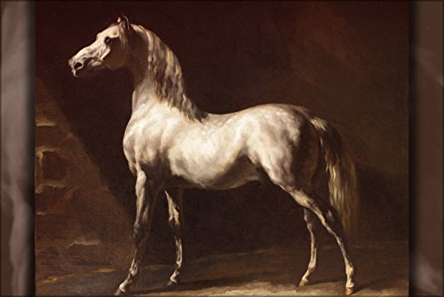 """History Galore 24""""x36"""" Gallery Poster, Cheval arabe gris-Blanc, Painting by Theodore Gericault (d.1824)"""