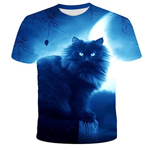 Camiseta De Animal De Gatito Nocturno para Hombre Camisetas Únicas con Estampado Digital En 3D Camiseta...