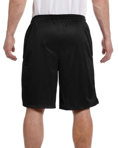 Champion Men's Long Mesh Short With Pockets,Black,Small