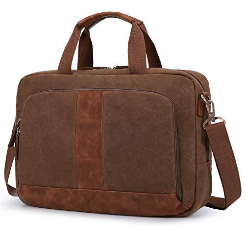 ECOSUSI Umhängetasche Herren Schultertasche Gewachste Premium Canvas Handtaschen Aktentasche Herren Laptoptasche 17-17.3 Zoll für Business, Schule, Kaffee