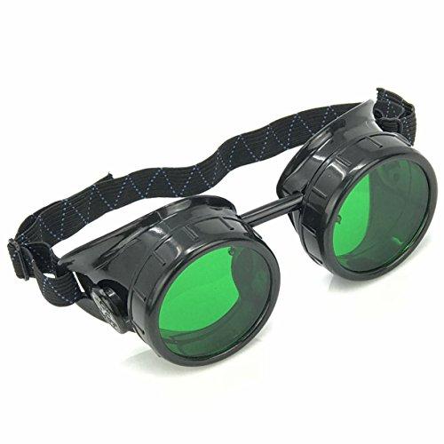 Steampunk Mad Scientist Goggles Rave Glasses Costume Eye Protection Goggles Welding Style Green