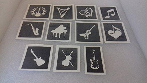 30 x Musik Themen Schablonen (gemischt) für Glitzer Tattoos / Gesicht malen beachten Gitarre Saxophon Violine Rockmusik