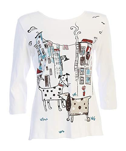 JESS & JANE 여성 도시 강아지 코튼 티셔츠 탑