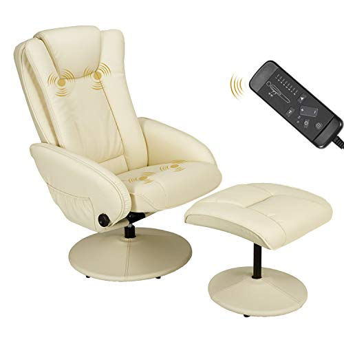 Esright Recliner Chair and Ottoman, 360 Degrees Swivel Ergonomic Faux Leather Lounge Recliner with Footrest, Vibration Massage Lounge Chair with Side Pocket, Cream White