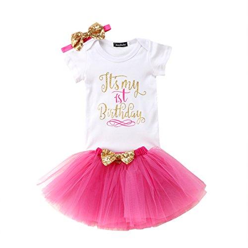 Geagodelia Babykleidung Set Baby Mädchen 1. Geburtstag Kleidung Outfit Body Strampler + Tüllrock Tütü Rock Neugeborene Kleinkinder Kindergeburtstag Geschenke 1 Jahr (Rosa 821 - Kurzarm)