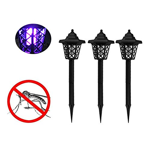 Naiflowers 3PC Solar Powered LED Light Pest Bug Zapper Insect Mosquito Killer Lamp Ground Backyard Garden Patio Lawn Best Stinger Moth Fly Solar Powered Indoor Outdoor Light