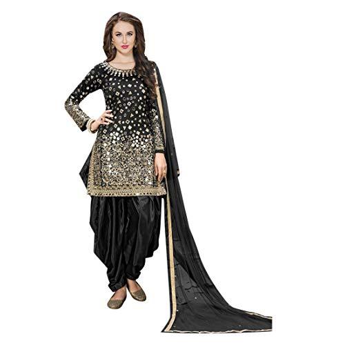ETHNIC EMPORIUM Black Seide Indische Bollywood Punjabi Salwar Shalwar Patiyala Patiala Hosen Traditionelle Salwar Kameez Kamiz Frauen Kleid Damen...