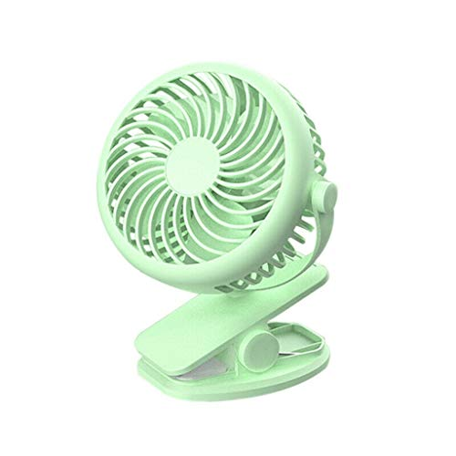 Mini Clip On Mute Stroller Fan, 2 Ways Desktop+Clips On, Rechargeable Rotatable, Personal Fan, Best Partner for for Baby Strollers, Desk, Dorm, Car, Home, Office, Outdoor