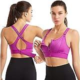 Deportes Sujetador Mujer Sportswear Cultivo Deporte Top Top Ajustable Cinturón Zipper Yoga Running Bras Push Up Chaleco A prueba de choque Ropa interior Gimnasio Bralette ( Color : Purple , Size : S )