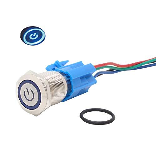 Coolais PBSLM-03 - Pulsador electrónico (12 V, resistente al agua, LED azul, con enchufe, 5 A, 2 juegos)