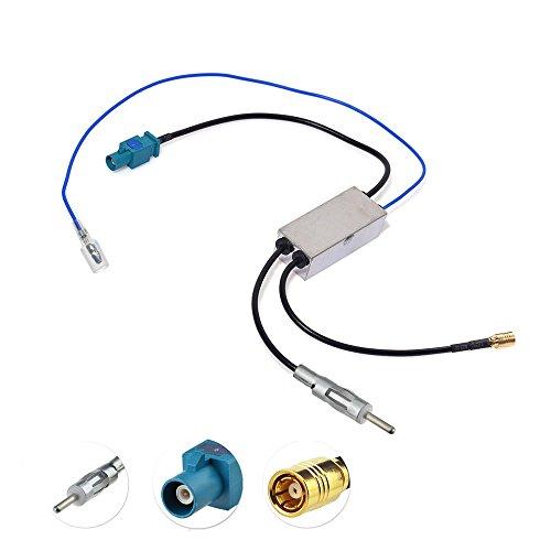 Bingfu Autoradio Antenna Splitter Convertitore Adattatore SMB/DIN/Fakra Z Ricevitore dell'amplificatore compatibile con Pioneer Kenwood Sony Clarion Pure Jvc Alpine AM/FM/DAB + Radio
