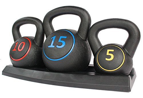 KKB Sport 5, 10 & 15lbs Vinyl Coated Kettlebells Set with Rack for Cross Training, MMA Training, Home Exerc