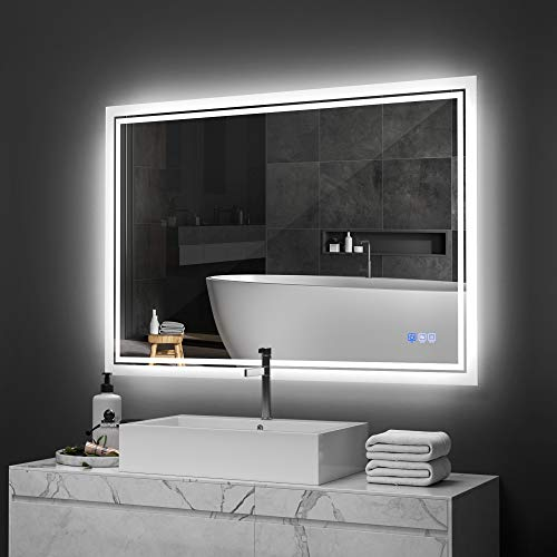 ANTEN 36x28 Inch LED Backlit Bathroom Mirror, Wall-Mounted Vanity Mirrors with Lights, Dimmable Touch Sensor, 3000-6000K Anti-Fog Makeup Mirror, Horizontal & Vertical