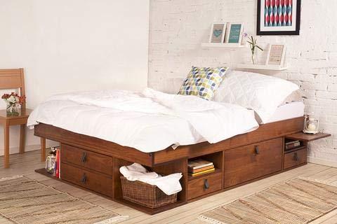 Funktionsbett Bali 140x200 Karamell - Bett mit viel Stauraum und Schubladen, optimal für kleine Schlafzimmer - Modernes Stauraumbett aus Kiefer Massivholz Weiss lackiert - Preis inkl. Lattenrost