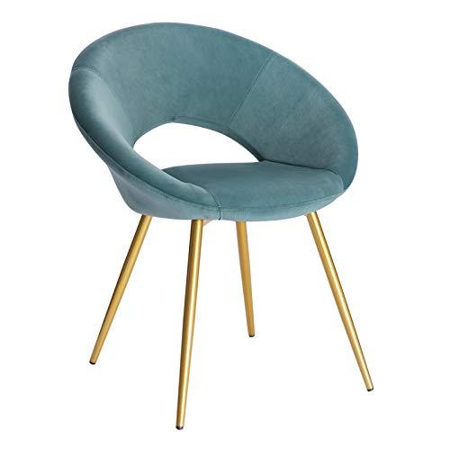 WOLTU Esszimmerstuhl BH230ts-1 1 Stück Küchenstuhl Polsterstuhl Wohnzimmerstuhl Sessel, Sitzfläche aus Samt, Gold Metallbeine, Türkis