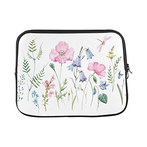 Design Custom Watercolor Floral Pattern Delicate Flower Wallpap Sleeve Soft Laptop Case Bag Pouch Skin for MacBook Air 11'(2 Sides)