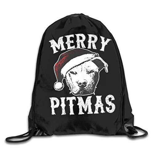 BK Creativity Drawstring Backpack,Merry Pitmas American Pitbull Terrier Dog At Christmas Drawstring Backpack Bag,Awesome Drawstring Laundry Bags For Adults Climbing Travelling,36x43cm