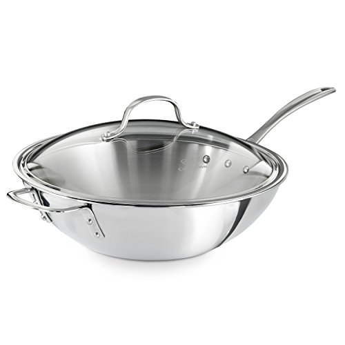 Stainless Steel 12-Inch Wok With Cover