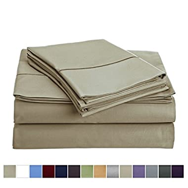 Audley Home 800 Thread Count Sheet Set (1 Flat Sheet1 Fitted sheet & 2 Pillowcases) 100% Long Staple Egyptian Cotton Luxurious Hotel Collection 4 Piece (Taupe, Queen)