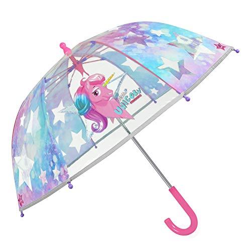 Regenschirm Transparent Einhorn Kleine Mädchen - Pink Rosa Kinderregenschirm Unicorn Sterne Reflektierend - Kinder Regen Schirm Durchsichtig Kindergarten 3/6 Jahre - Durchmesser 64 cm (Reflektierend)