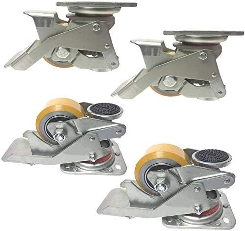4X roulettes pivotantes, 3 Pouces Support réglable Horizontalement Castor, Freins à Pied, Mobile/Fixe Librement, 4 Roues 1000KG Charge, for l'équipement Lourd, armoires, étagères
