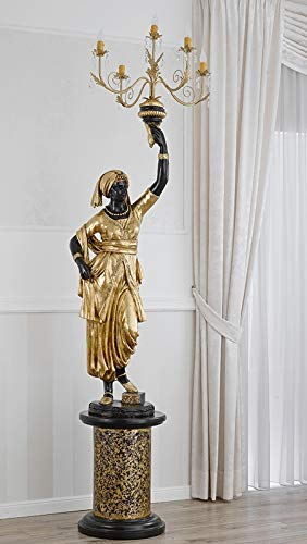 Moro Veneziano decorativo Venere color negro con detalles en oro estatua con...