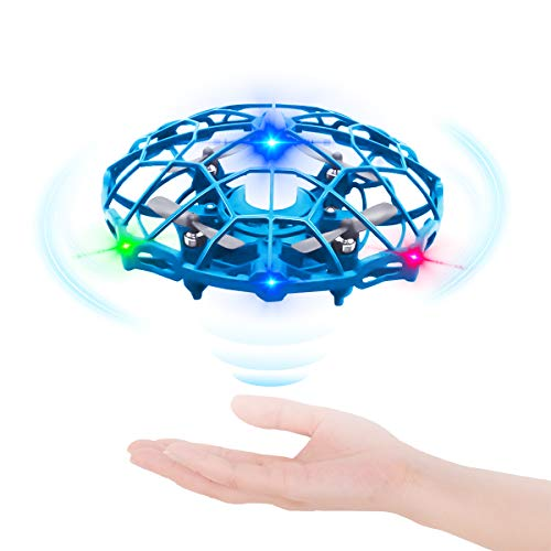 JTBYABL UFO Drone-Hand Operated Drones, Flying Toys Gesture Sensing Aircraft, Indoor Outdoor Flying Ball Mini Drone with 360° Rotating and Shinning LED Lights for Kids or Adults