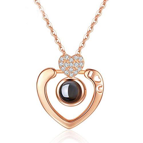 I Love You Collar 100 Idiomas Proyección Corazón Colgante Collar Recuerdos Collar de clavícula Regalo de San Valentín para mujeres niñas